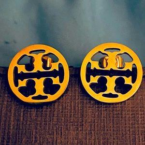 Tory Burch gold miller logo stud earrings